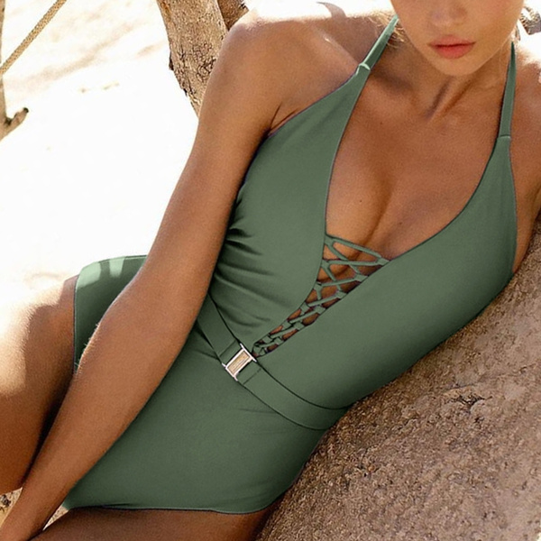 Fashion, Lace, Halter, One Piece Swimsuits