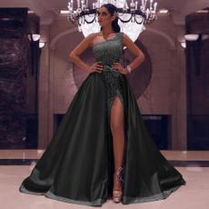 Fashion, one-shoulder, long dress, Evening Dress