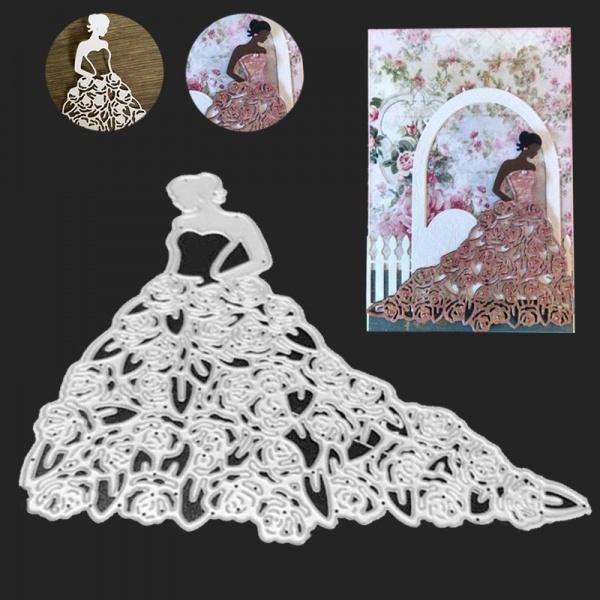 stencil, Stamps, Rose, Dress