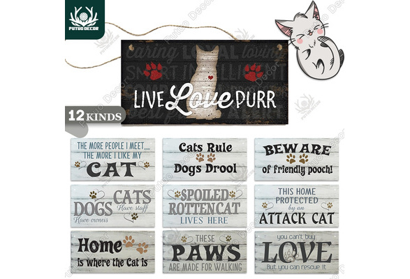 Cat Lover Gift Wooden Hanging Quote Sign about cats Wood Home decor Plaque