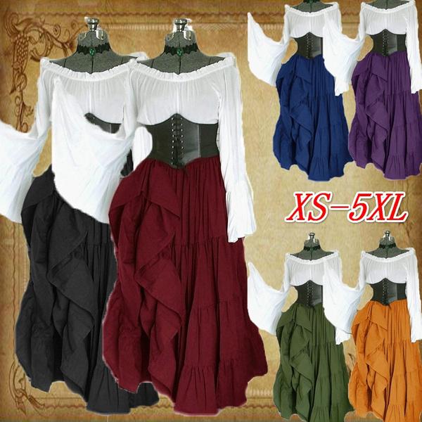 medievaldres, off shoulder dress, Classics, Long Sleeve