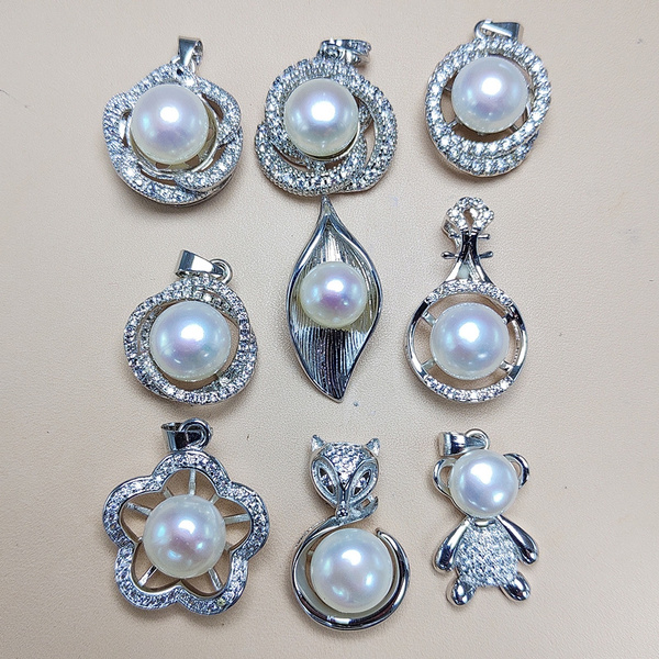 100 Freshwater Pearl Pendant 925 Sliver Pendant Diy Pearl Necklace For Women Fashion Jewelry Without Chain Xmas Wedding Gift 1pcs Lot Wish