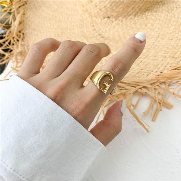 initialring, 26letterring, letterring, Rose Gold Ring