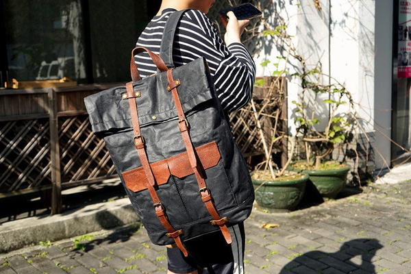 Handmade Waxed Canvas Backpack Large Travel Backpack 15.6/'/' Laptop Backpack Bike Backpack Unisex School Backpack Rolltop Backpack Rucksack