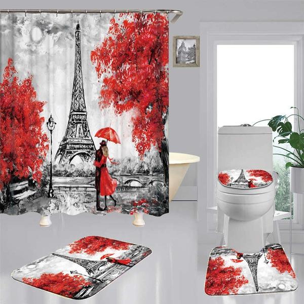 Paris Eiffel Tower Shower Curtain Bath Mat Toilet Cover Rug Bathroom Decor Set Wish