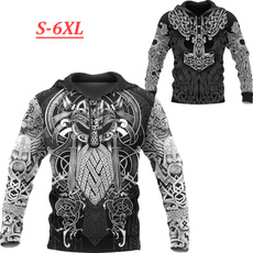 viking, tattoo, hooded, 3D hoodies