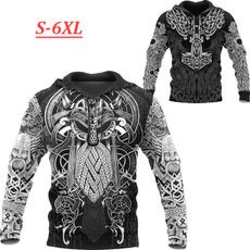 viking, tattoo, hooded, 3D hoodies