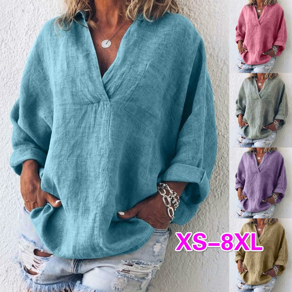 Summer, Plus Size, Women Blouse, Long Sleeve