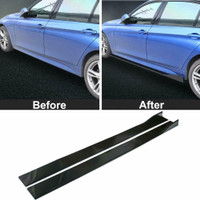 X AUTOHAUX 2pcs 35cm//13.78 Inch Length Universal Black Left Right Car Side Skirt Spoiler Exterior Bottom Line Extensions