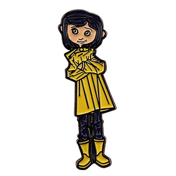 Coraline The Secret Door Enamel Pins Brooches Yellow Raincoat Little Girl Figure Badge Brooch For Women Kids Coat Bag Jewelry Wish