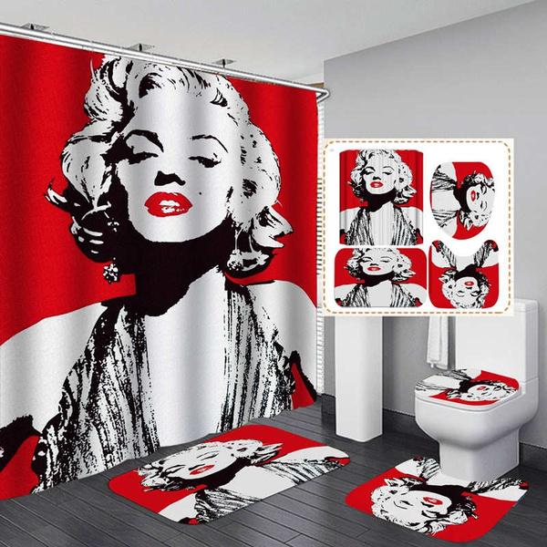 Marilyn Monroe Red Shower Curtain Bath Mat Toilet Cover Rug Bathroom Decor