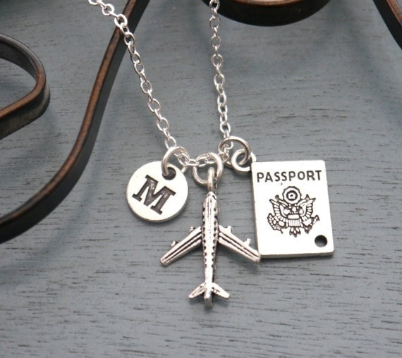airplanenecklace, Jewelry, Travel, initial