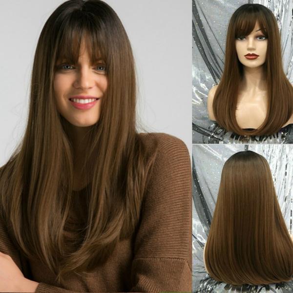 wig, brown, straightwig, Natural