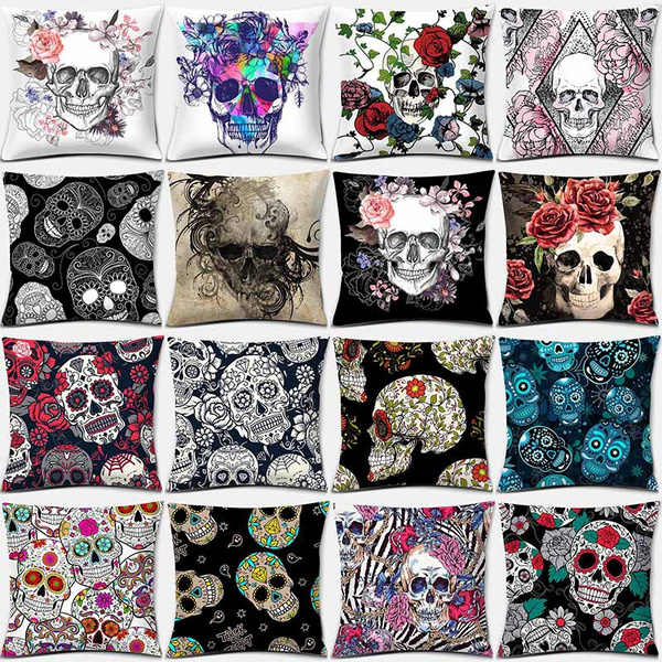 Fashion Sugar Skull Flower Skull Print Square Pillowcase Home Decoration  Car Sofa Cushion Cover(45cm*45cm) Wish