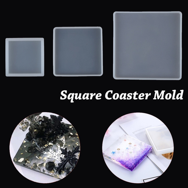 Transparent Fluid Arts Square Coaster Resin Casting Molds Silicone Epoxy Moulds//