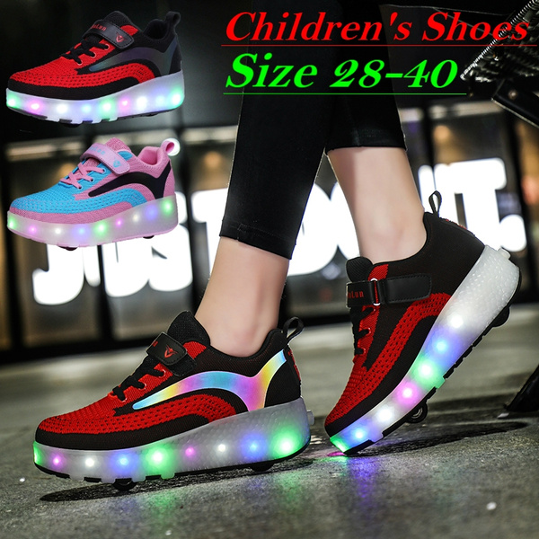 Ylllu Kids LED USB Charging Roller Skate Shoes with Wheel Shoes Light up Roller Shoes Rechargeable Roller Sneakers for Girls Boys Children