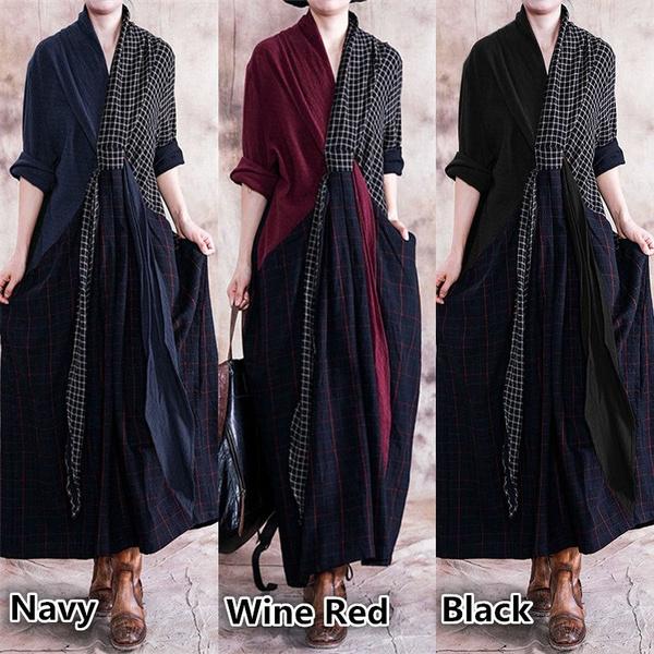 Women, plaid, Long Sleeve Dresses, Sleeve