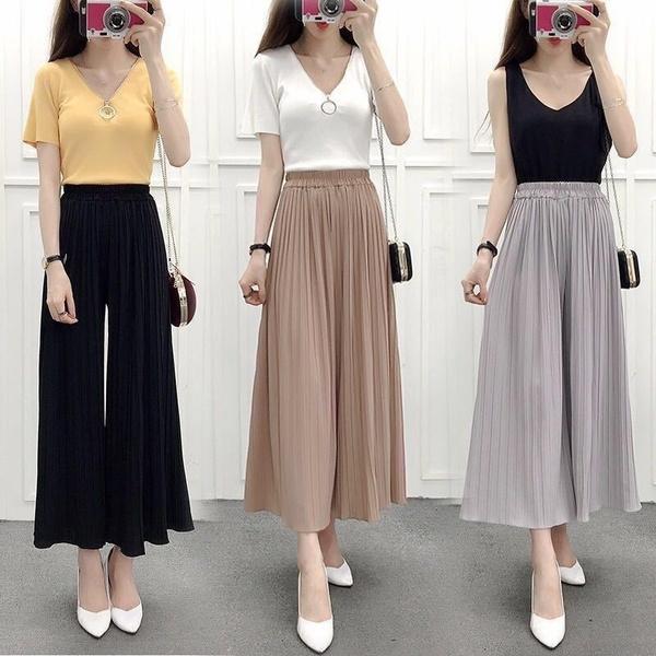 womenscasualpant, trousers, high waist, chiffon