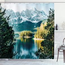 Mountain, Bathroom, Winter, waterproofcurtain