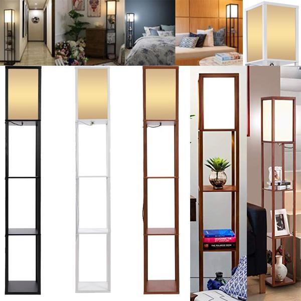 Led Shelf Floor Lamp Modern Standing Light For Living Rooms Bedrooms Asian Wooden Frame With Open Box Display Shelves Wish