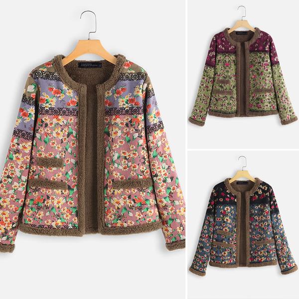 Fashion, Long Sleeve, fleececoat, printedcoat