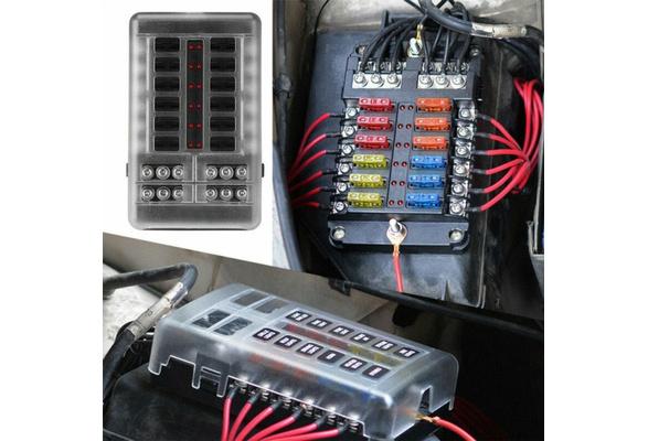 Fuse Block Holder Plastic Cover Fuse Box Holder With LED Indicator Light  Screw Terminal / Insert PC Terminal For Auto Car Boat Marine Trike   WishWish