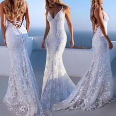 Deep V-Neck, sleeveless, whiteweddingdre, Lace