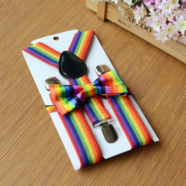 rainbow, belts and suspenders, bow tie, Bow