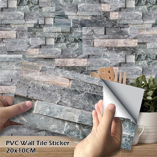 27Pcs Drak Grey Stone Brick Wall Tile Sticker Self-Adhesive Waterproof PVC  Kitchen Bathroom Decor Wish