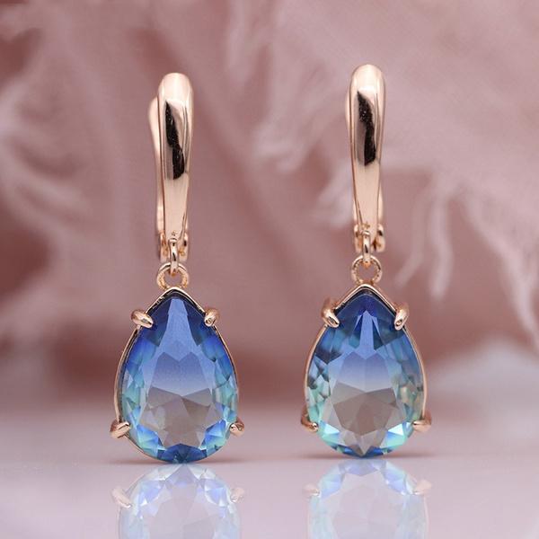 Elegant, Dangle Earring, Gemstone Earrings, gold