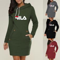 Fashion, Long Sleeve, cottonsweater, long dress