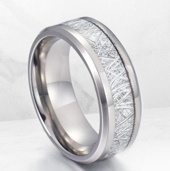 Steel, 8MM, tungstenring, meteoritesring