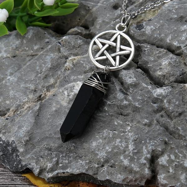 crystal pendant, quartz, blackcrystalnecklace, wicca