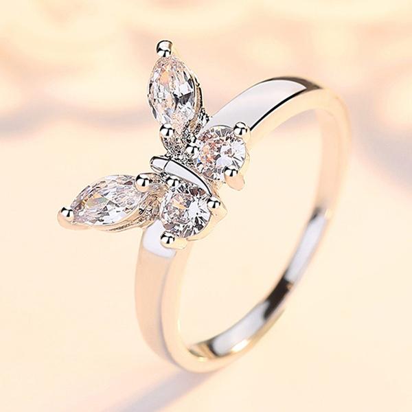 butterflyring, crystal ring, wedding ring, gold