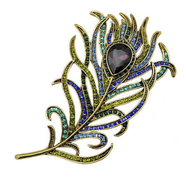 peacock, Tail, Jewelry, Pins