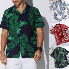 Mens T Shirt, Shorts, Hawaiian, Sleeve