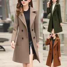 Slimwaist, woolen coat, Plus Size, Cintura