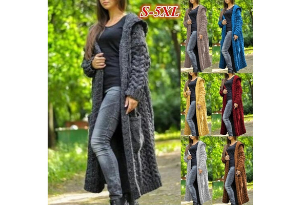 Autumn and Winter Fashion Women Hooded Knitted Cardigan Sweater Warm Long Sweater Outerwear Plus Size