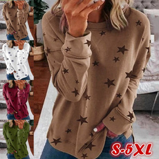 ashionwomentop, Star, Long Sleeve, casuallongsleeveshirt