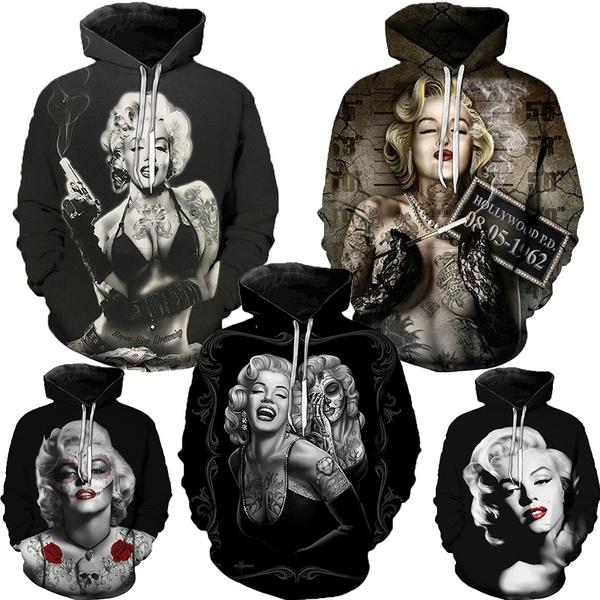 3D hoodies, 3dprintsweatshirt, Winter, marilynmonroehoodie