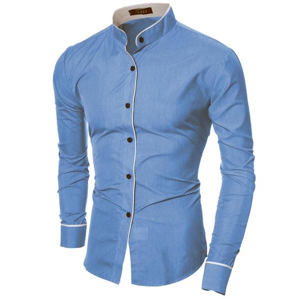 Stand Collar, collar slim, Fashion, Shirt