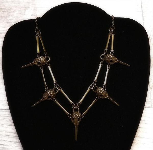 steampunknecklace, skullnecklace, pagan, Jewelry