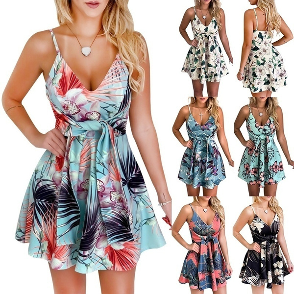 Summer, Floral print, women dresses, fashion dress