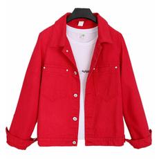 Fashion, denim jacket, slim, Harajuku