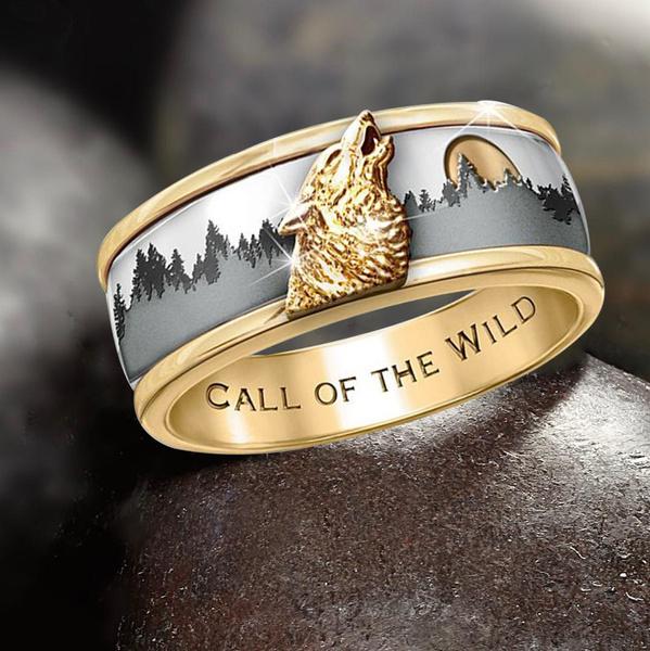 callofthewild, twotonering, animalring, wedding ring
