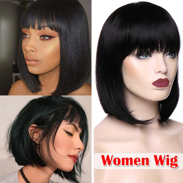 Women Fashion 1pc Human Hair Bob Style Wigs Dark Brown Natural Black Full Wigs With Bangs Can Be Trimmer Curled Wish