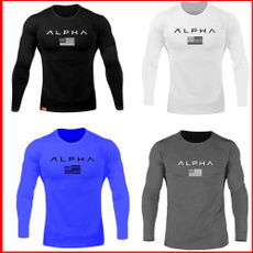Outdoor, letter print, Fitness, Long Sleeve