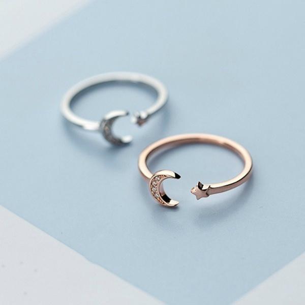 moonearring, DIAMOND, Women Ring, Silver Ring