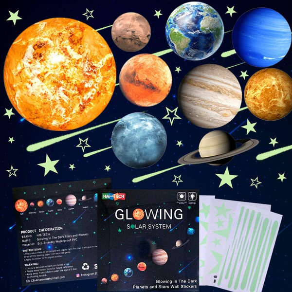 Starry Sky Wall Decals Solar System Space Milky Way Planet Wall Stickers for Children,Perfect for Kids Bedding Room Gift 462 PCS Realistic 3D Stars and Moons on The Ceiling