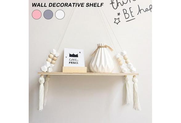 Wood Swing Shelf Tassel Storage Beads Display Holder Wall Hanging Decor